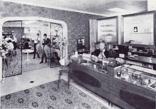 1950's Large reception area and salon through the  wrought iron doors