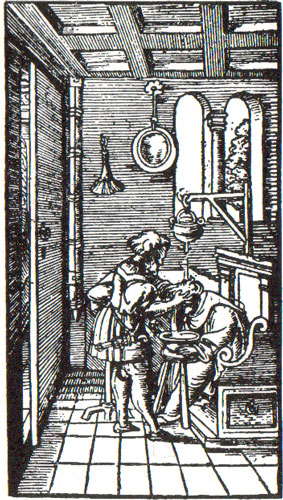 c16th - Woodcut shows shampooing in a barber's shop