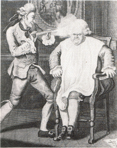 c18th - An Englishman in Paris has his wig powdered (c1770)