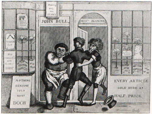 c18th - Engraving showing keen competition between barbers!