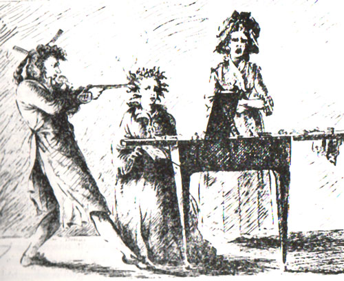 c18th - Hair irons English caricature 1787