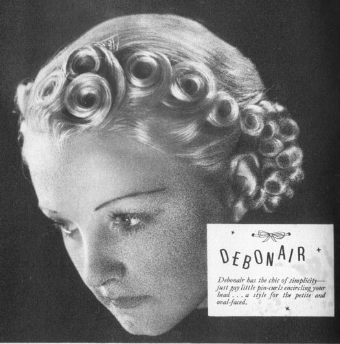 "c20th - ""Debonair"" The chic of simplicity, just gay little pin curls encircling your head"