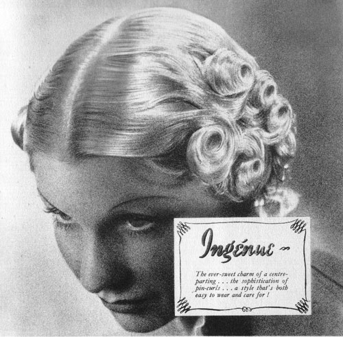 "c20th - ""Ingenue"" The ever sweet charm of a centre parting, the sophistication of pin curls"